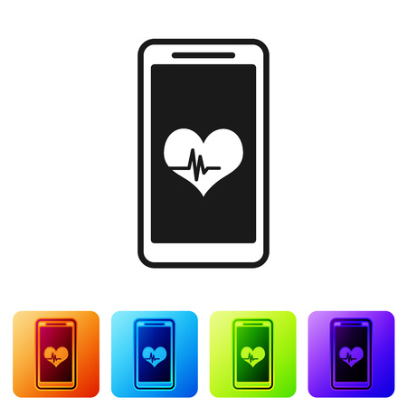 Black Smartphone with heart rate monitor function icon isolated on white background. Set icon in color square buttons. Vector Illustration
