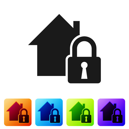 Black House under protection icon isolated on white background. Home and lock. Protection, safety, security, protect, defense concept. Set icon in color square buttons. Vector Illustration