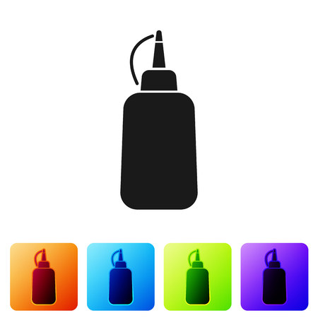 Black Mustard bottle icon isolated on white background. Set icon in color square buttons. Vector Illustration