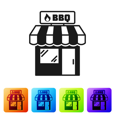Black Barbecue shopping building or market store icon isolated on white background. BBQ grill party. Shop construction. Set icon in color square buttons. Vector Illustration