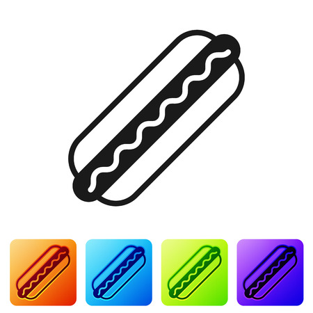 Black Hotdog sandwich with mustard icon isolated on white background. Sausage icon. Fast food sign. Set icon in color square buttons. Vector Illustration Illustration