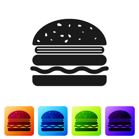 Black Burger icon isolated on white background. Hamburger icon. Cheeseburger sandwich sign. Set icon in color square buttons. Vector Illustration