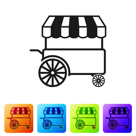 Black Fast street food cart with awning icon isolated on white background. Urban kiosk. Set icon in color square buttons. Vector Illustration