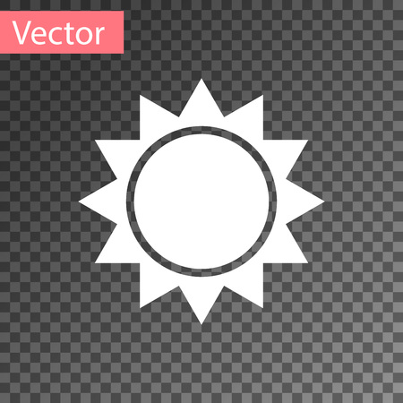 White Sun icon isolated on transparent background. Vector Illustration