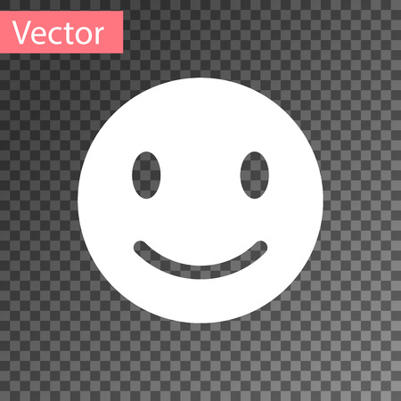 White Smile face icon isolated on transparent background. Smiling emoticon. Happy smiley chat symbol. Vector Illustration