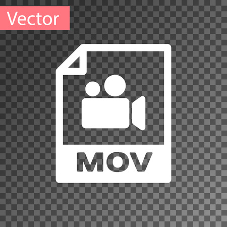 White MOV file document icon. Download mov button icon isolated on transparent background. MOV file symbol. Audio and video collection. Vector Illustration