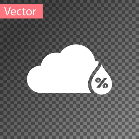 White Humidity icon isolated on transparent background. Weather and meteorology, cloud, thermometer symbol. Vector Illustration