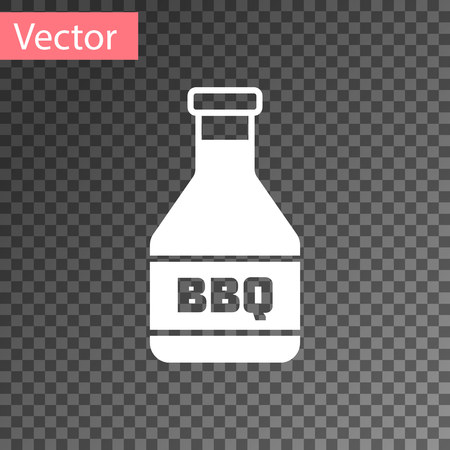 White Ketchup bottle icon isolated on transparent background. Barbecue and BBQ grill symbol. Vector Illustration