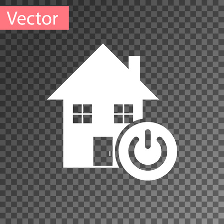 White Smart home icon isolated on transparent background. Remote control. Vector Illustration