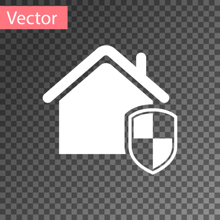 White House under protection icon isolated on transparent background. Home and shield. Protection, safety, security, protect, defense concept. Vector Illustration Ilustração