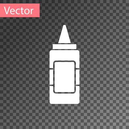 White Mustard bottle icon isolated on transparent background. Vector Illustration