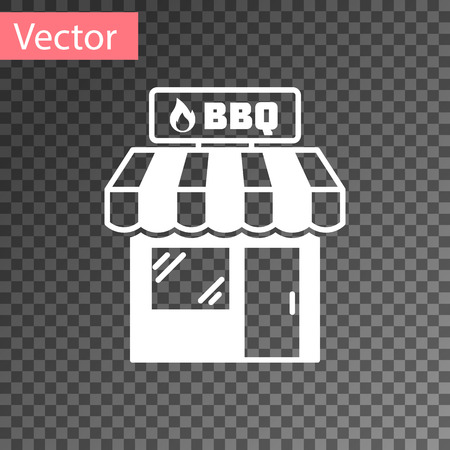 White Barbecue shopping building or market store icon isolated on transparent background. BBQ grill party. Shop construction. Vector Illustration
