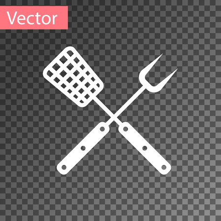 White Crossed fork and spatula icon isolated on transparent background. BBQ fork and spatula sign. Barbecue and grill tools. Vector Illustration