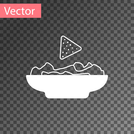 White Nachos in plate icon isolated on transparent background. Tortilla chips or nachos tortillas. Traditional mexican fast food. Vector Illustration 向量圖像