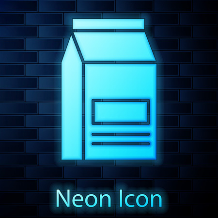 Glowing neon Bag of food icon isolated on brick wall background. Food for animals. Pet food package. Vector Illustration Stockfoto - 123146226