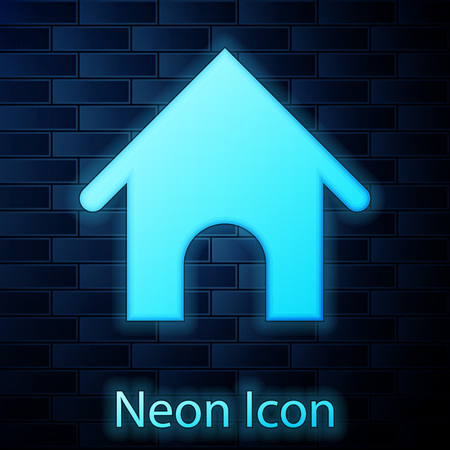 Glowing neon Dog house icon isolated on brick wall background. Dog kennel. Vector Illustration
