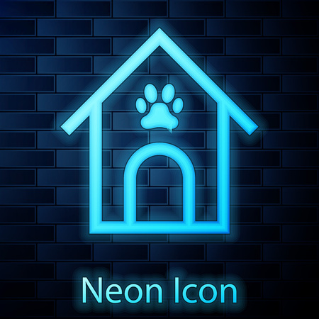 Glowing neon Dog house and paw print pet icon isolated on brick wall background. Dog kennel. Vector Illustration Ilustracja