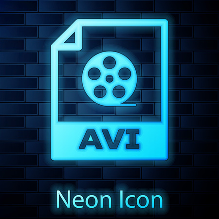 Glowing neon AVI file document icon. Download avi button icon isolated on brick wall background. AVI file symbol. Vector Illustration