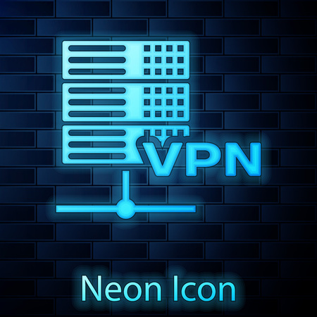 Glowing neon Server VPN icon isolated on brick wall background. Vector Illustration Illustration