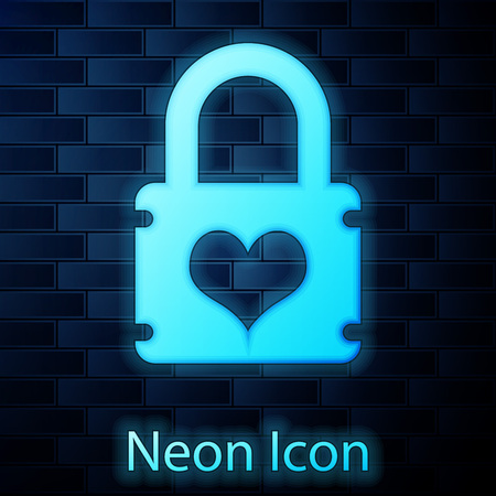 Glowing neon Padlock with heart icon isolated on brick wall background. Locked Heart. Love symbol and keyhole sign. Vector Illustration