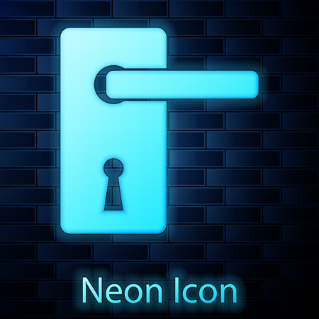 Glowing neon Door handle icon isolated on brick wall background. Door lock sign. Vector Illustration