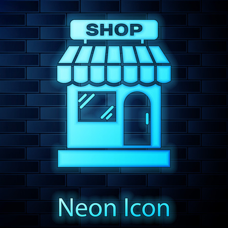 Glowing neon Shopping building or market store icon isolated on brick wall background. Shop construction. Vector Illustration Stockfoto - 123145561
