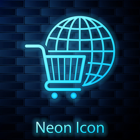 Glowing neon Shopping cart with globe icon isolated on brick wall background. Online buying concept. Global market concept. Supermarket basket symbol. Vector Illustration Ilustracja