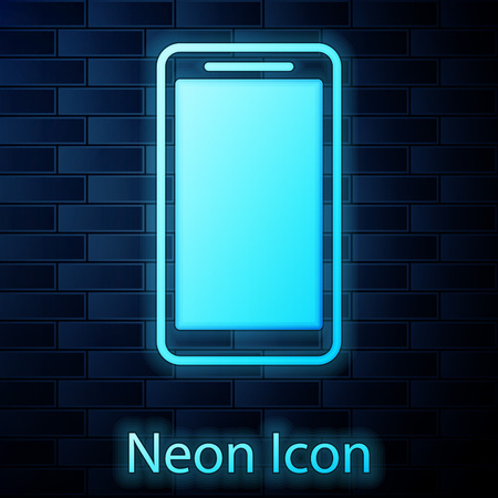 Glowing neon Smartphone, mobile phone icon isolated on brick wall background. Vector Illustration Stockfoto - 123145567