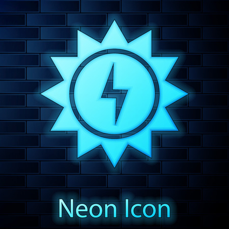 Glowing neon Solar energy panel icon isolated on brick wall background. Sun with lightning symbol. Vector Illustration Иллюстрация