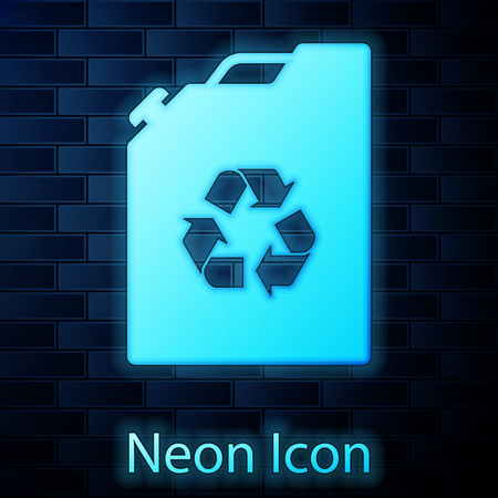 Glowing neon Eco fuel canister icon isolated on brick wall background. Eco bio and barrel. Green environment and recycle. Vector Illustration Illustration