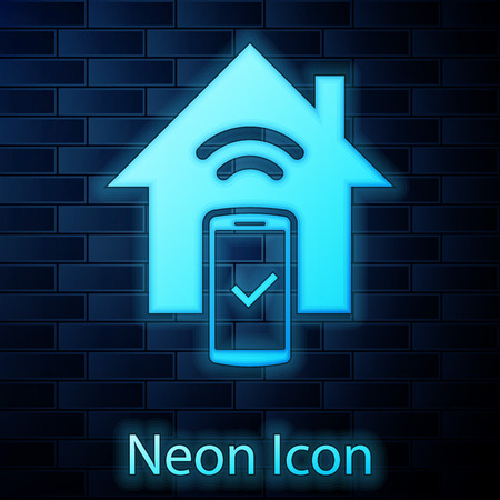 Glowing neon Smart home - remote control system icon isolated on brick wall background. Vector Illustration Ilustracja