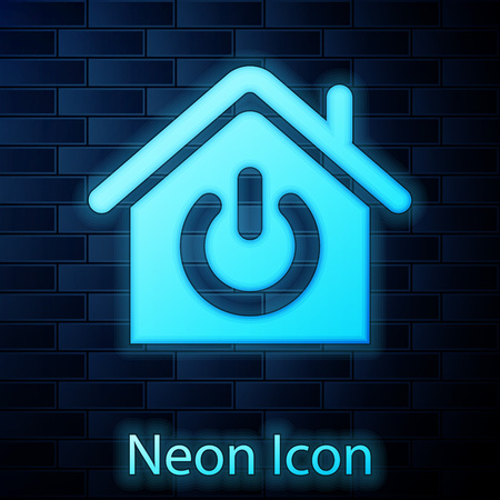 Glowing neon Smart home icon isolated on brick wall background. Remote control. Vector Illustration Ilustracja