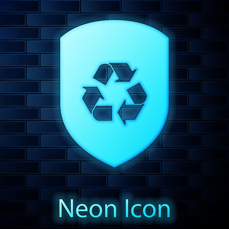 Glowing neon Recycle symbol inside shield icon isolated on brick wall background. Eco protection sign. Vector Illustration Ilustrace