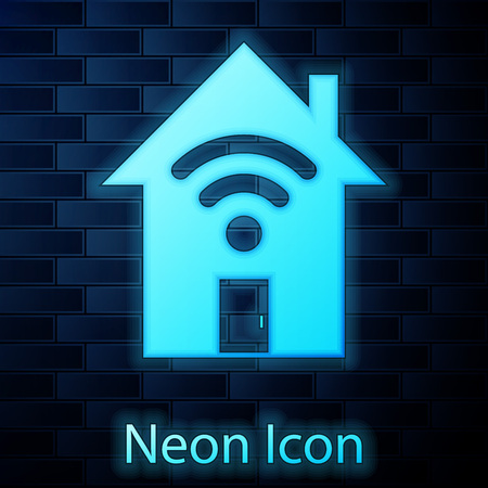 Glowing neon Smart home with wi-fi icon isolated on brick wall background. Remote control. Vector Illustration Ilustracja