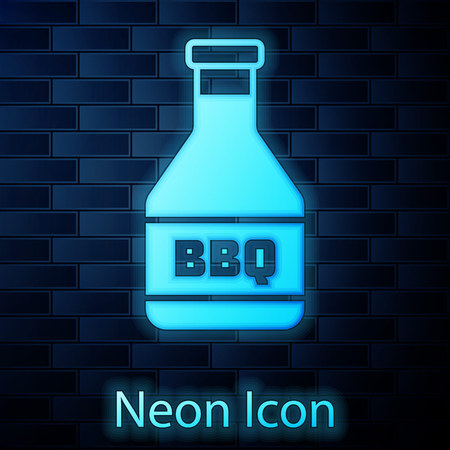 Glowing neon Ketchup bottle icon isolated on brick wall background. Barbecue and BBQ grill symbol. Vector Illustration