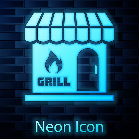 Glowing neon Barbecue shopping building or market store icon isolated on brick wall background. BBQ grill party. Shop construction. Vector Illustration Vectores