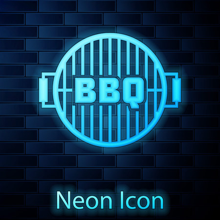 Glowing neon Barbecue grill icon isolated on brick wall background. Top view of BBQ grill. Steel grid. Vector Illustration 向量圖像
