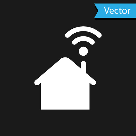 White Smart home with wi-fi icon isolated on black background. Remote control. Vector Illustration
