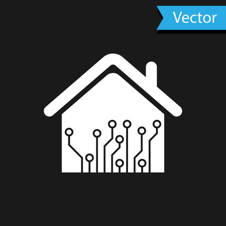 White Smart home icon isolated on black background. Remote control. Vector Illustration