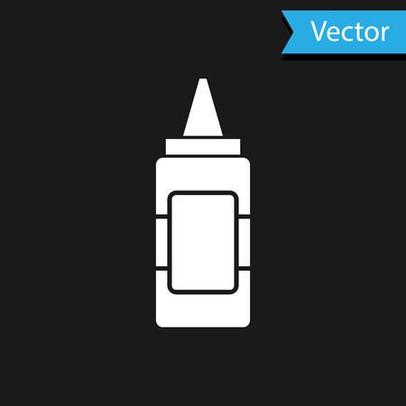 White Mustard bottle icon isolated on black background. Vector Illustration