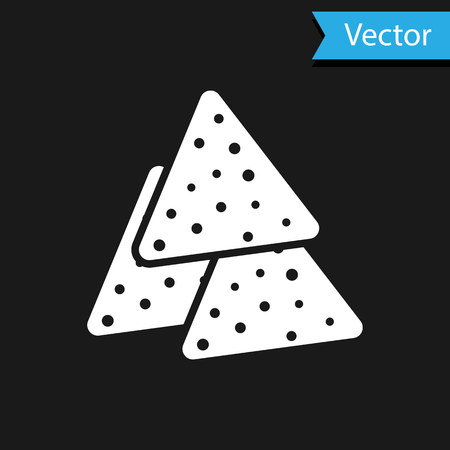 White Nachos icon isolated on black background. Tortilla chips or nachos tortillas. Traditional mexican fast food. Vector Illustration