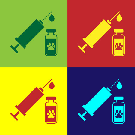 Color Syringe with pet vaccine icon isolated on color backgrounds. Dog or cat paw print. Vector Illustration
