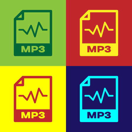 Color MP3 file document icon. Download mp3 button icon isolated on color backgrounds. Mp3 music format sign. MP3 file symbol. Vector Illustration Vettoriali