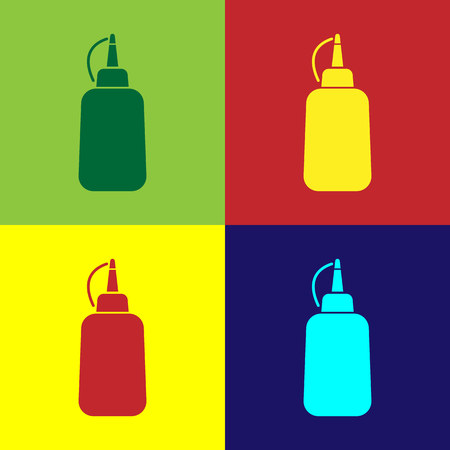 Color Mustard bottle icon isolated on color backgrounds. Vector Illustration Illustration
