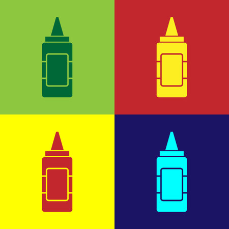 Color Mustard bottle icon isolated on color backgrounds. Vector Illustration