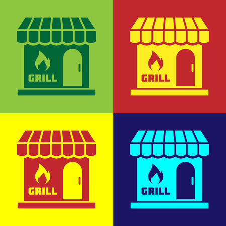 Color Barbecue shopping building or market store icon isolated on color backgrounds. BBQ grill party. Shop construction. Vector Illustration