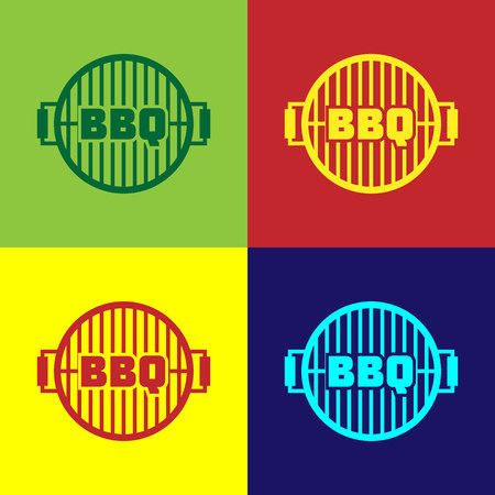 Color Barbecue grill icon isolated on color backgrounds. Top view of BBQ grill. Steel grid. Vector Illustration Illustration