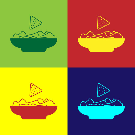 Color Nachos in plate icon isolated on color backgrounds. Tortilla chips or nachos tortillas. Traditional mexican fast food. Vector Illustration Çizim