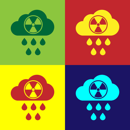 Color Acid rain and radioactive cloud icon isolated on color backgrounds. Effects of toxic air pollution on the environment. Vector Illustration