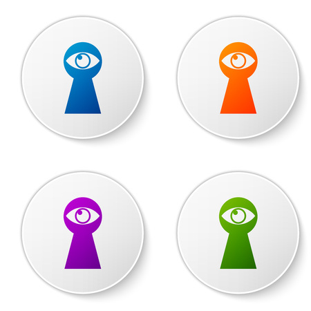 Color Keyhole with eye icon isolated on white background. The eye looks into the keyhole. Keyhole eye hole. Set icons in circle buttons. Vector Illustration